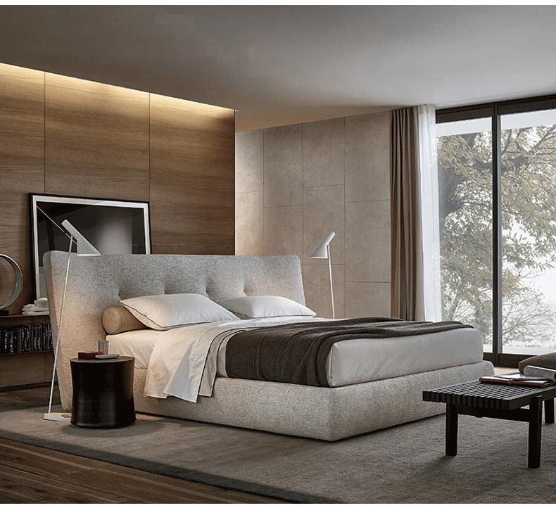 意式轻奢布艺床 双人床2米2.2米 主卧北欧别墅样板房卧室大户型床