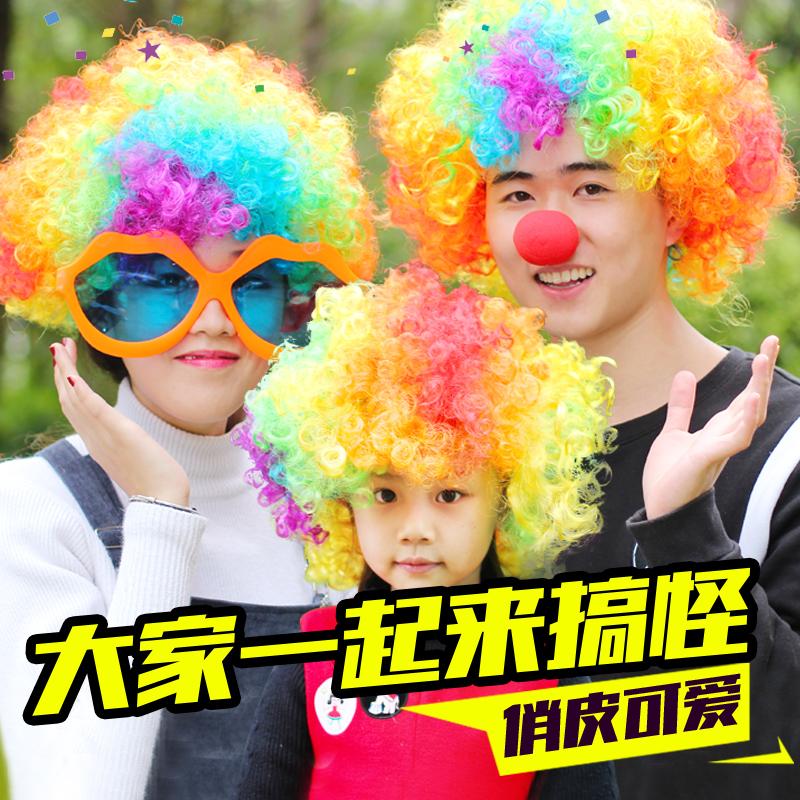 Цвет взрыв голову клоун сделать смех хэллоуин реквизит ребенок парик детский сад производительность площадь материал головной убор волосы