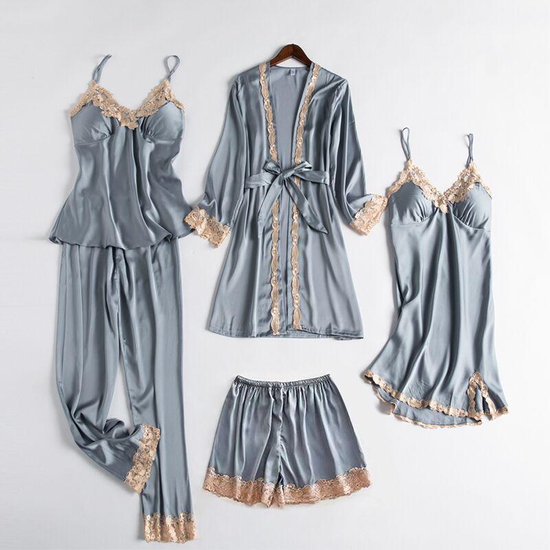 睡衣女性感春秋五件套冰丝绸薄款睡裙女秋冬长款女士睡袍2021新款