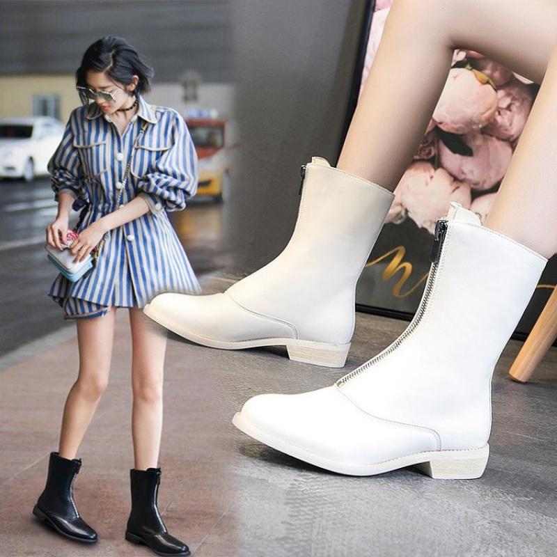 秋冬季靴子女2020新款真皮短靴gudi英伦风时尚前拉链平底马丁靴
