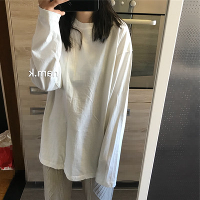 nam.k韩国女装 粉儿们都来的好穿好设计长袖宽松t