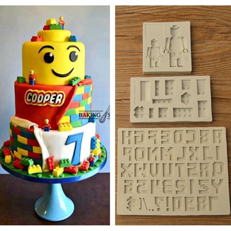 翻糖硅膠模具 樂高機器人積木字母 lego硅膠翻糖模 翻糖蛋糕裝飾