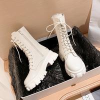 查看真皮马丁靴女2021春秋新款厚底中筒靴英伦风白色短靴机车靴ins酷价格
