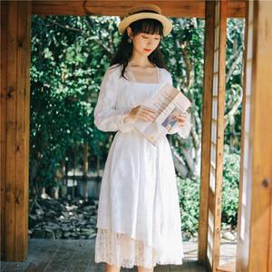 微笑向暖复古满幅绣拼接2020春装新款连衣裙刺绣仙女裙chic温柔裙
