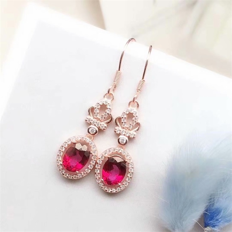 Elegant S925 Sterling Silver Plated 18K gold inlaid Red Topaz Earrings Earrings real silver DIY precious stones sweet earrings for women Q