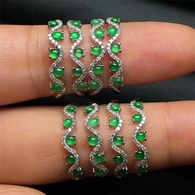 Elegant S925 pure silver plated 18K gold set natural jadeite ring womens hot Jewelry Ring Gift YH