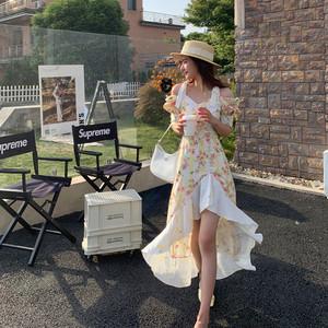 YF56604# Rose朴彩英同款黄色碎花不规则连衣裙泡泡袖仙女裙子夏季新款 服装批发女装直播货源
