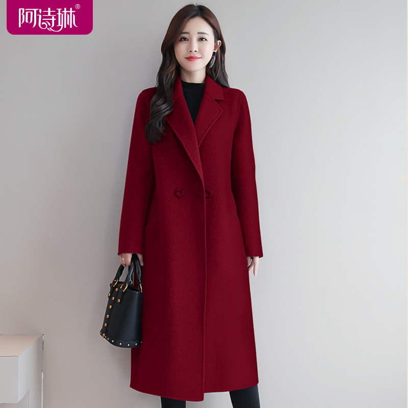 Red double-sided cashmere coat women's wool woolen cloth mid-length 2020 new double-sided woolen woolen coat autumn and winter