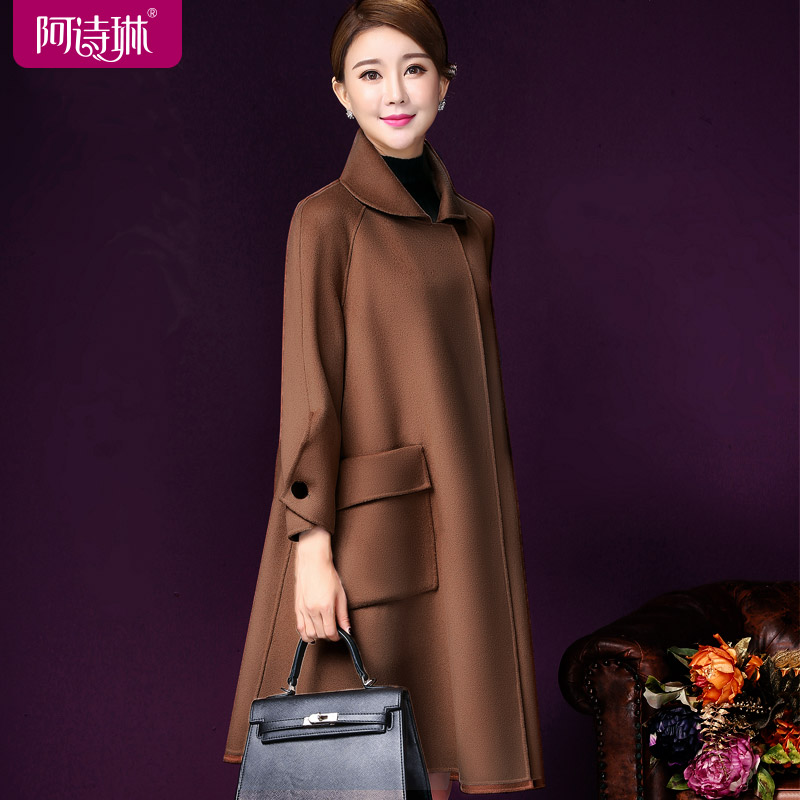 Autumn and winter double-sided cashmere coat women's mid-length 2020 new double-sided woolen coat loose cloak woolen coat women