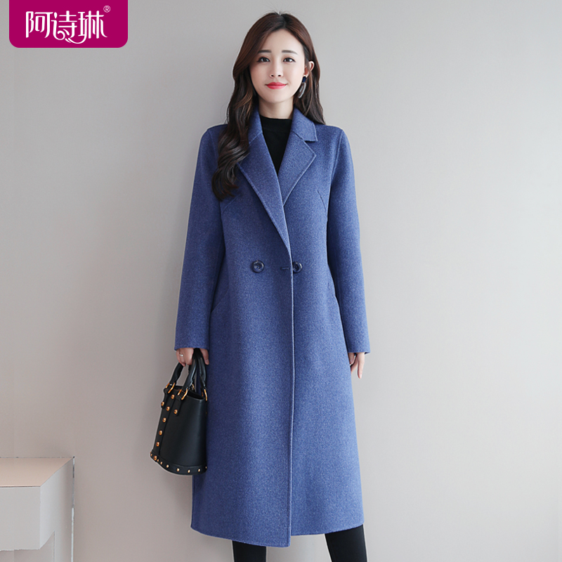 High-end double-sided cashmere coat women's 2020 autumn and winter new mid-length slim suit woolen coat woolen coat