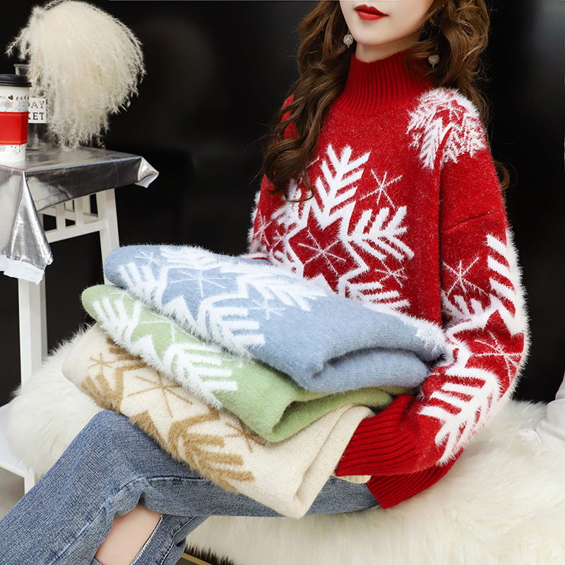 Lazy style sweater womens half high collar Pullover loose fall / winter 2019 new style net red super fire foreign style sweater top