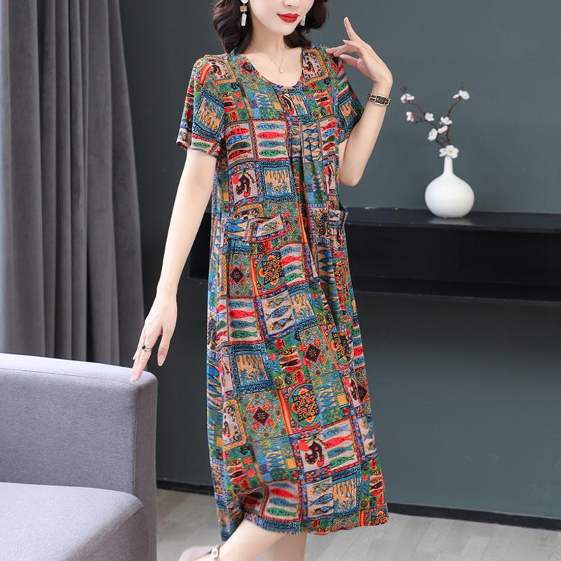 新款洋气印花全棉绸连衣裙夏季女装碎花时尚外穿有口袋人造棉裙子