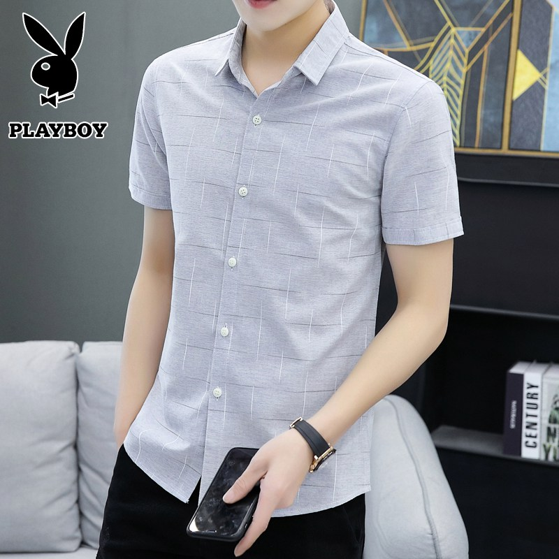 Playboy short sleeve shirt men's summer handsome youth trend slim shirt casual half sleeve summer men's wear