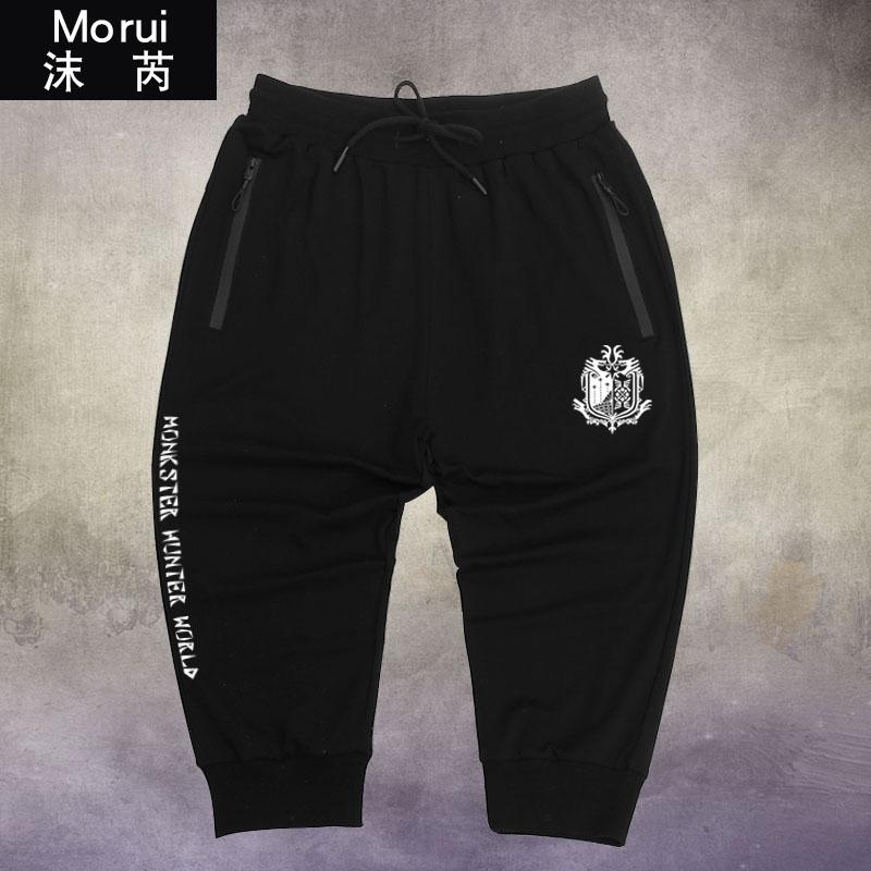 物猎人世界游戏二次元周边七分裤短裤子男女学生休闲卫裤薄运动裤