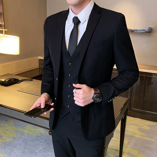 韓版修身西服套裝男士商務休閑正裝黑外套結婚新郎伴郎禮服小西裝