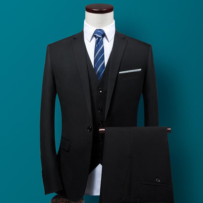 西装套装男士三件套商务职业正装西服韩版修身伴郎新郎结婚礼服秋