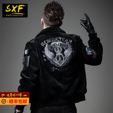 SXF Saint Shivan leather leather men Lapel sheep shearing European goods embroidered fur winter wool men's jacket tide