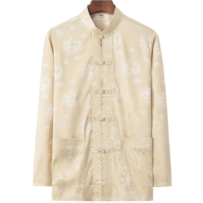 45.00元包邮中老年人唐装男中国风中式休闲衬衫