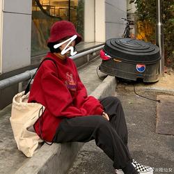 2toyoung 新年红色发财刺绣加绒厚卫衣女 套头宽松圆领外套2020冬
