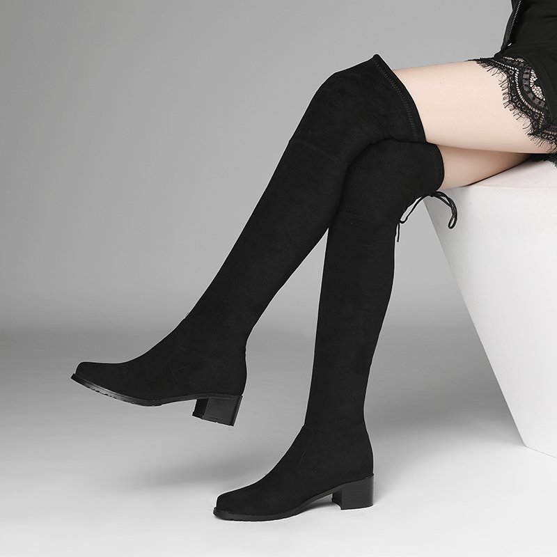 Xiang shiting elastic knee high boots black boots middle heel showing thin elastic socks boots sexy boots womens boots Zidong