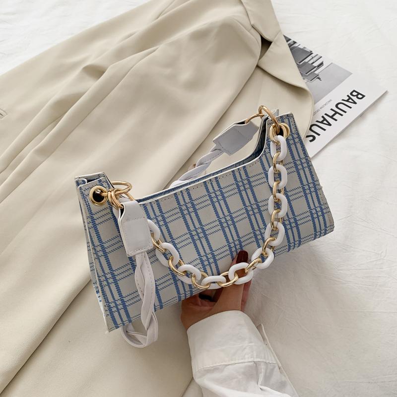 少女包包2021流行新款潮韩版百搭ins时尚洋气质感格子单肩腋下包
