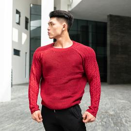 肌肉兄弟2019秋冬季新品运动户外修身长袖圆领套头毛线衫上衣 男图片
