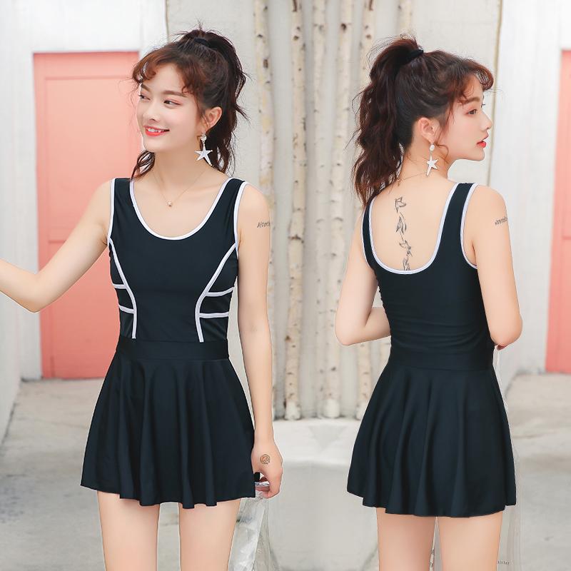 新款女士连体裙式平角泳衣mm泳装限100000张券
