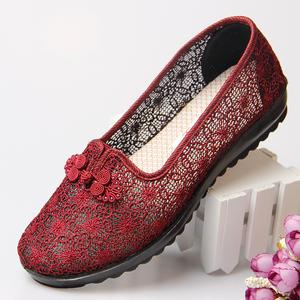 中老年人女鞋老人奶奶夏季凉鞋平底防滑北京布鞋女妈妈鞋软底鞋子