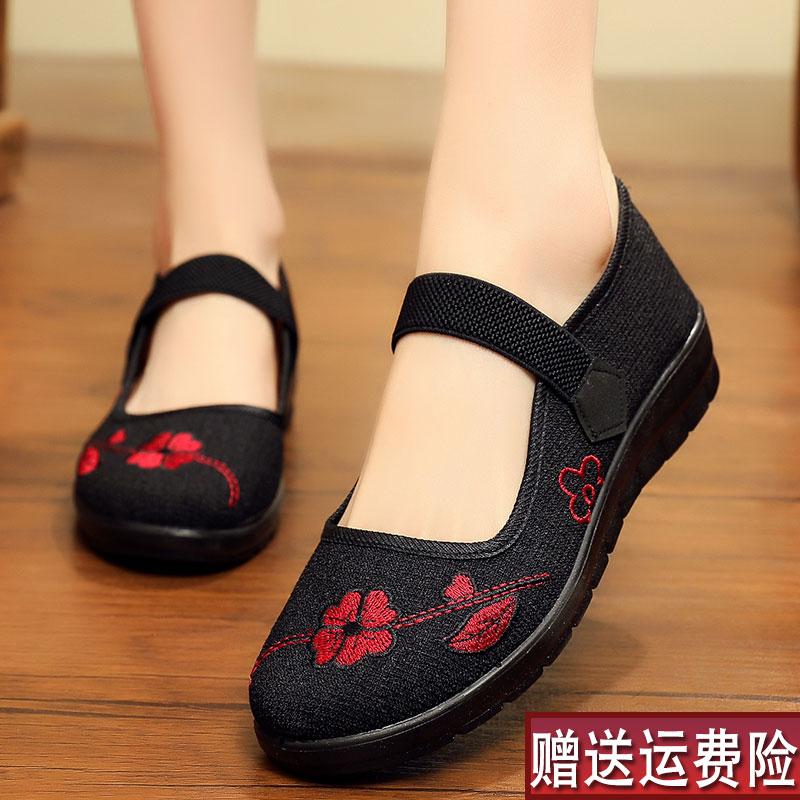 奶奶布鞋防滑软底老北京布鞋女妈妈鞋春秋款老人鞋子2021新款单鞋