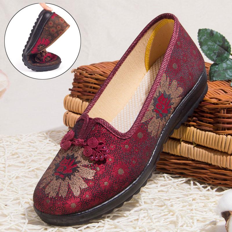 中老年老人老太太老北京布鞋女新款奶奶鞋平底软底女士妈妈单鞋子