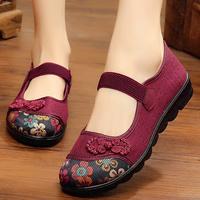 中老年人方口鞋老北京布鞋女平底軟底大碼媽媽單鞋女款淺口休閑鞋