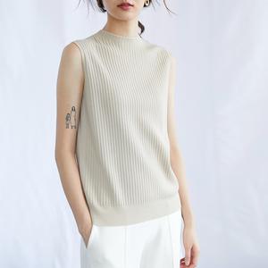 白色无袖针织背心女夏外穿薄半高领大码内搭打底上衣ol羊毛针织衫