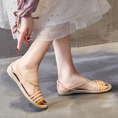 夏季软底塑料女旗袍海边沙滩洞洞鞋