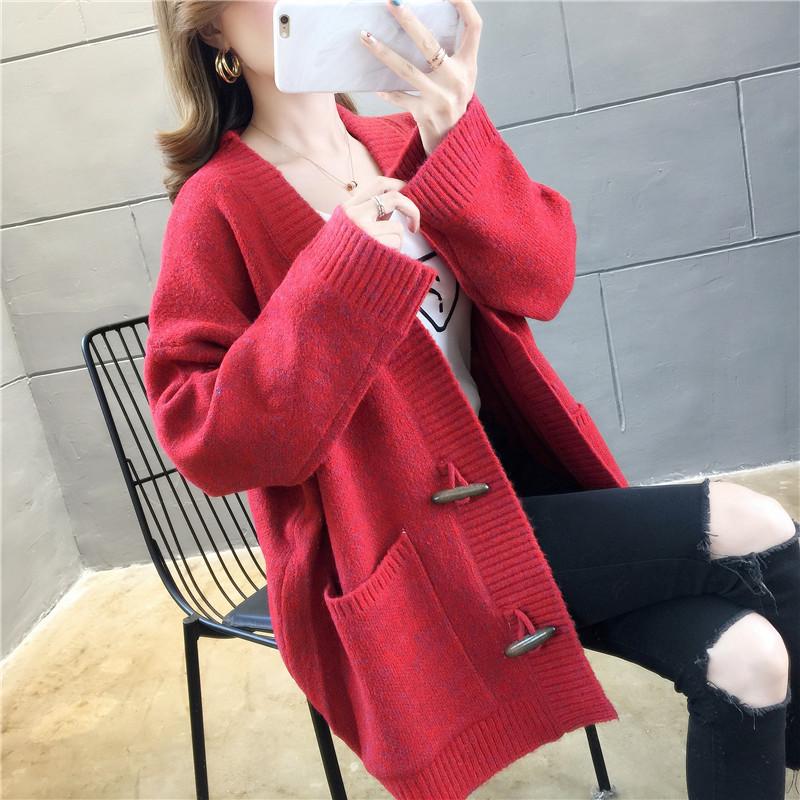Mikuo 2019 Korean new autumn long sleeve pocket cardigan sweater sweater sweater loose jacket woman