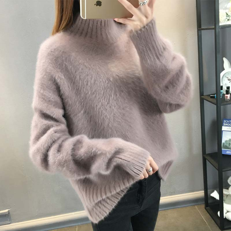 Autumn and winter new loose half high collar Pullover Sweater for womens outer wear students T-shirt Korean thickened womens fashion