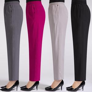 夏季薄款中老年女裤冰丝宽松紧高腰大码休闲妈妈长裤子老年奶奶裤