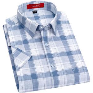 纤丝鸟短袖衬衫男2020夏新款纯棉格子中年爸爸装休闲全棉半袖衬衣
