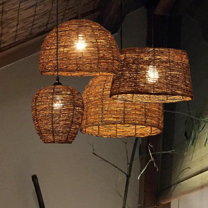 藤编灯藤艺吊灯藤条编织日式民宿茶室禅意灯中式创意复古个性灯具