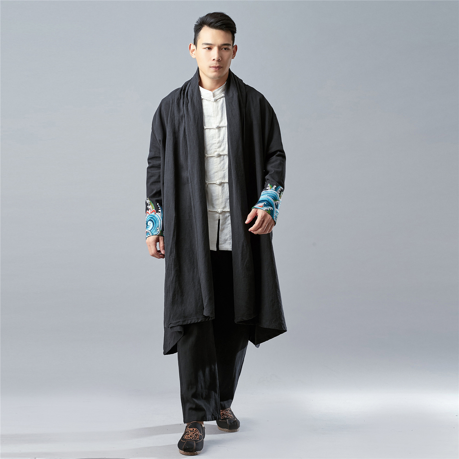 Chinese style ramie mens Retro embroidered Cape loose large size thick windbreaker spring and autumn Han suit with cloak Tang suit