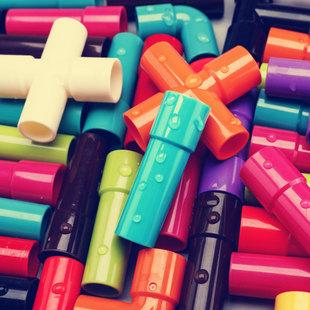 水管道积木拼装插4男孩子5益智力9宝宝1-2女孩3-6周岁7婴儿童玩具