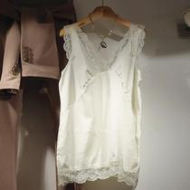 韩版v领打底衫背心吊带大码女装蕾丝雪纺丝绸缎上衣宽松内搭白色
