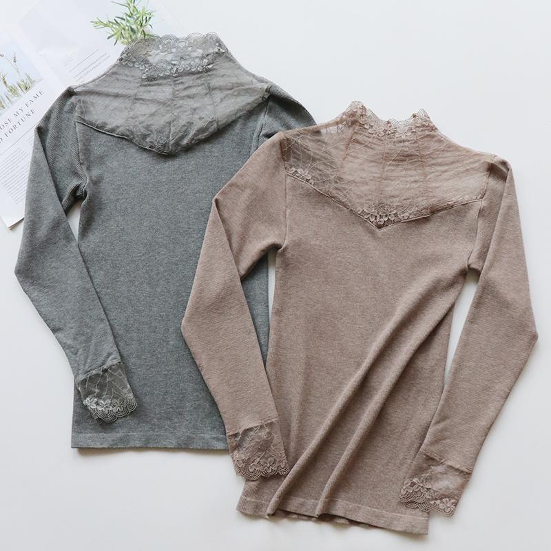 高领蕾丝毛圈保暖内衣女士塑身美体秋衣单件上衣薄款加绒打底衫冬