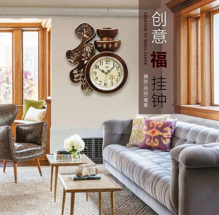 康巴丝客厅家用挂钟静音卧室钟表时尚简约挂表中国风福字石英钟