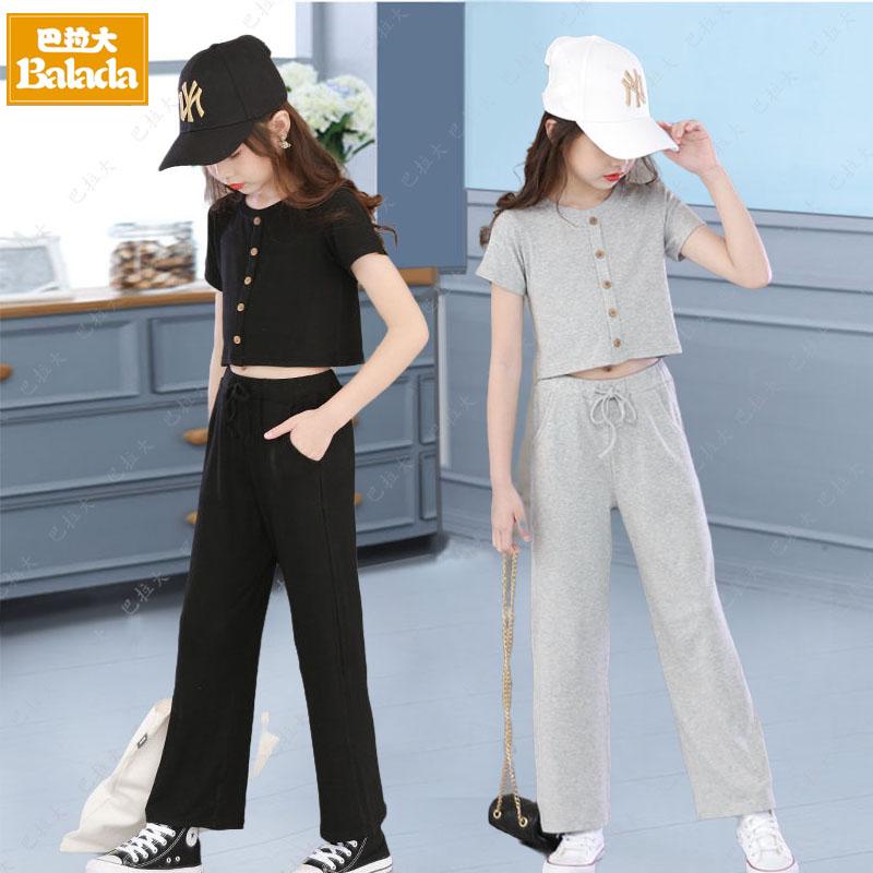 13小学生夏装套装女生衣服女孩的夏季穿的十岁中大童休闲阔腿裤子