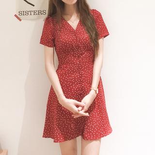 红色法式v领复古韩系高腰a字雪纺波点连衣裙女夏季很仙的茶歇裙子