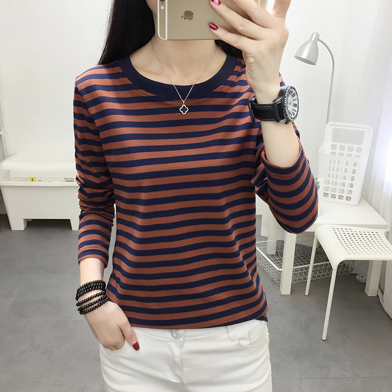 Stripe 2021 spring and autumn new all cotton long sleeve T-shirt womens soil blood sports casual top bottomed small shirt