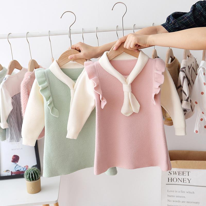 (用3元券)童装春秋款女童宝宝领巾连衣裙可爱娃娃领婴儿水貂绒长袖连衣裙