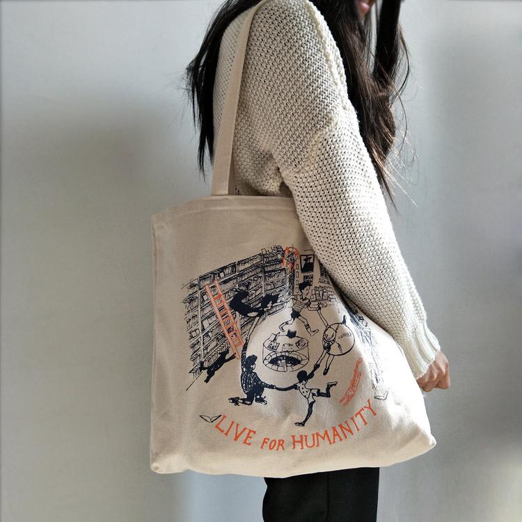 大的一只帆布包单肩包学生书包百搭大包包环保帆布袋 春夏季女包(非品牌)