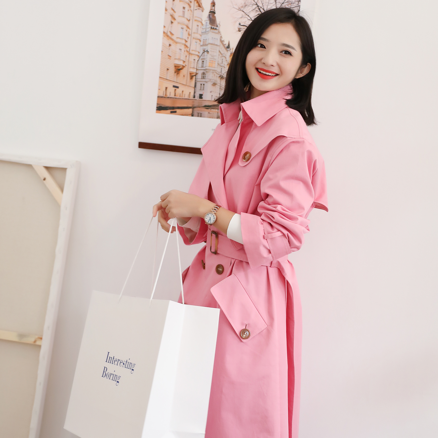 New tooling Pink Double Breasted loose and thin womens wear medium and long windbreaker womens belt Jacket Womens