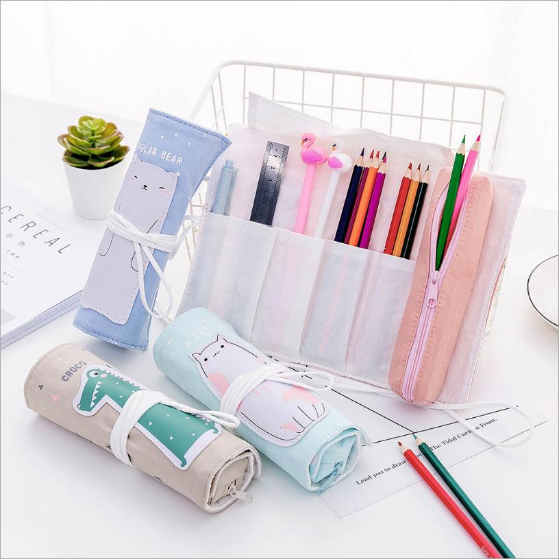 日韩可爱帆布卷卷笔袋 卡通多功能两用可拆卸笔帘男女学生文具盒